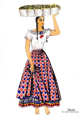 Coffee picker from Costa Rica in traditional clothes. Latin american folk dress.