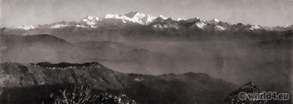 Snowy range from Tiger Hill. Darjeeling India. View on Himalaya. J. Burlington Smith.