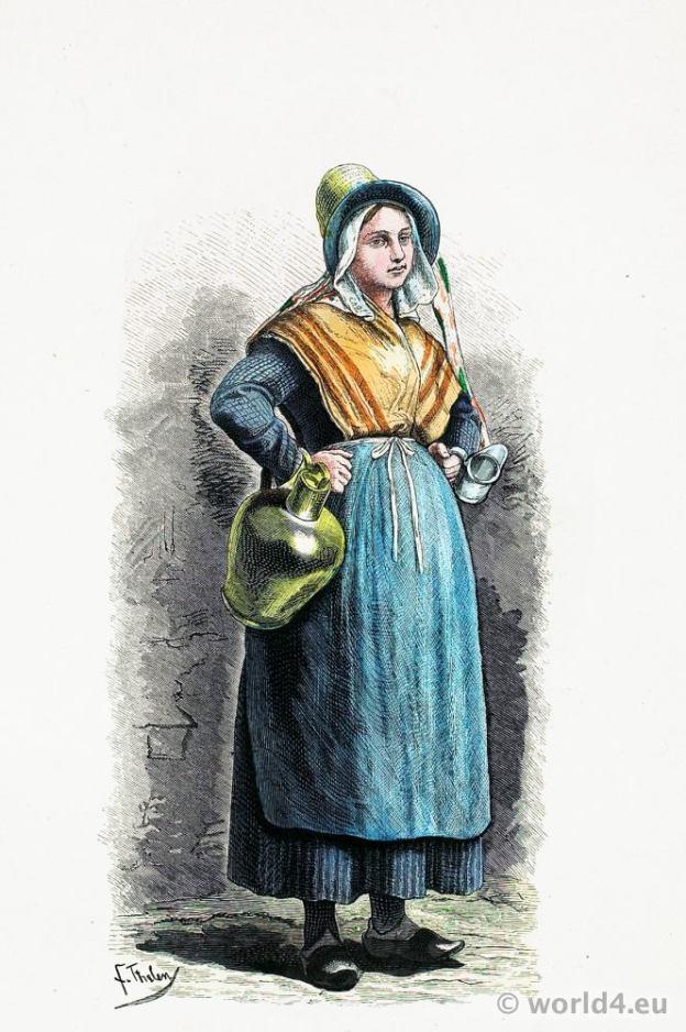 Traditional Belgium national costume. Milk girl in folk dress from Antwerp. Franz Lipperheide