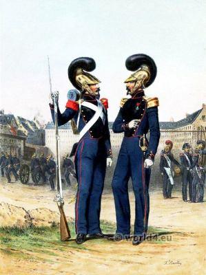 Armee Francaise. Sapeurs Pompiers. Officier et soldat.