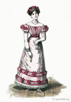 Lady in Paris Ball Gown. French Restoration fashion era. Romantic costumes period