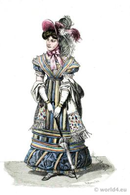 Lady in Paris Street Costume. French Restoration fashion era.