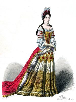 France aristocracy costume of the court of Louis XIV