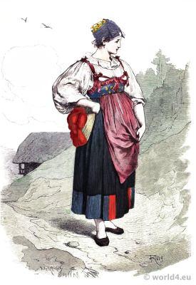 Traditional German national costume. Black Forest folk dress. Franz Lipperheide
