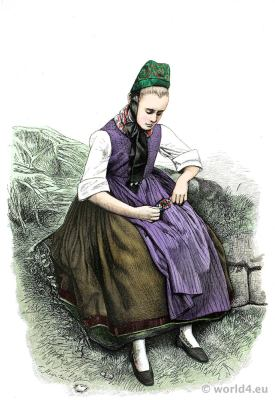 raditional Peasant girl costume from Ockershausen Marburg, Electoral Hesse.