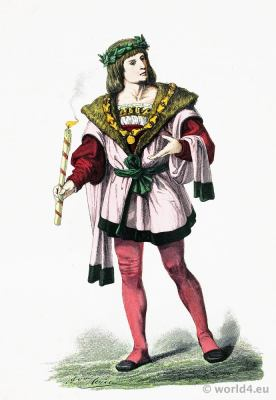 Medieval Burgundy aristocracy costume 15th century. Renaissance costume fashion period.