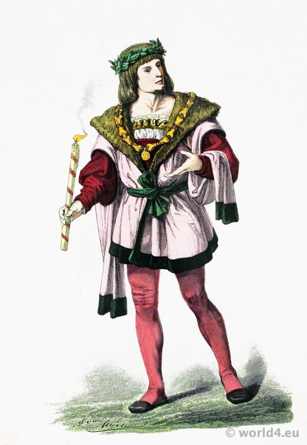 German Renaissance aristocracy costume. Franz Lipperheide. Medieval Burgundy Nobleman fashion.