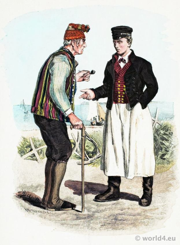 Traditional German national costume. Fishermen folk dresses from the island of Rügen.