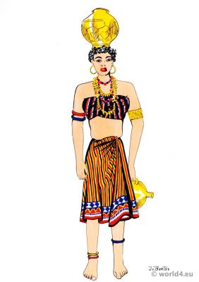 South America costumes. Native of Dutch Guiana in traditional folk dress.