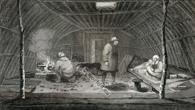 The Inside of A Winter Habitation. Traditional Kamtchatka folk dress. Russian national costume