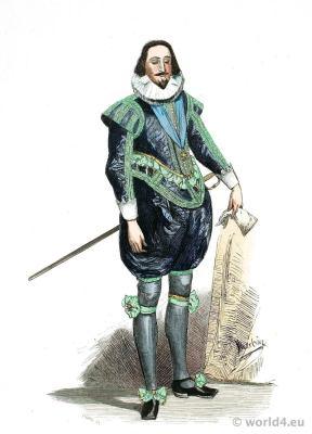 King Charles. of England. 17th century, baroque fashion period. Tudor costume.