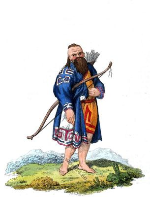Kuril Islands folk dress.  Aboriginal Ainu in traditional costume.