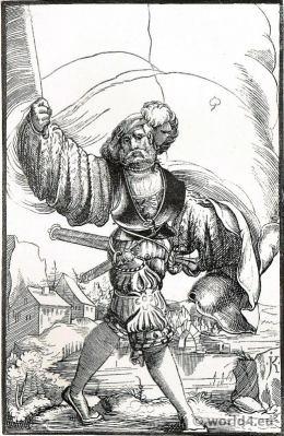 German Lansquenet costume. Landsknecht dress. Mercenary 30 years war. Charles V, Holy Roman Emperor.