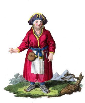 A Woman of Lapland in traditional dress. Scandinavian folk costume