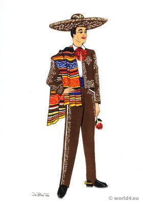 Traditional Mexican cowboy costume. Huge felt sombrero. Latin american folk dress.