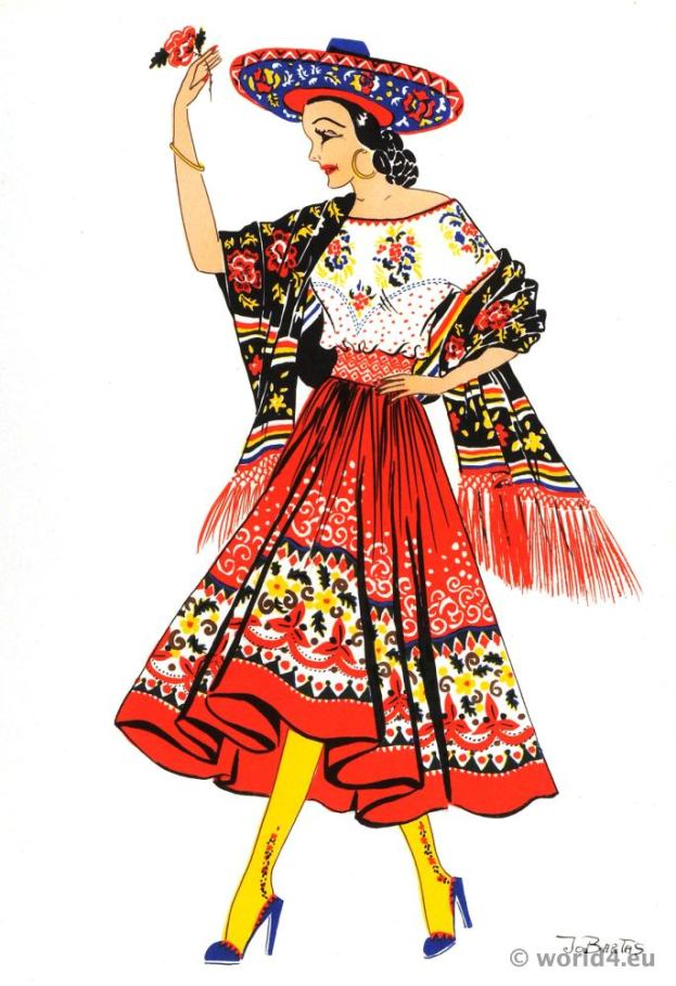 Mexico China Poblana dance costume. Jarabe Tapatío. Mexican folkloric clothing