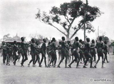 African tribe South Sudan. Moru Dance.