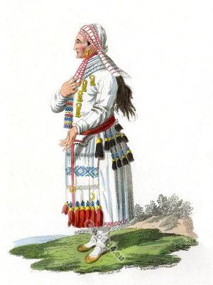 Mordva, Mordvinians, Mordοvia Woman in traditional dress of the Moksha Tribe.