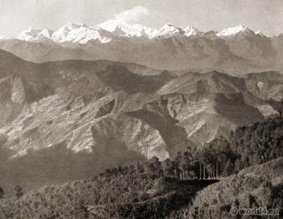 Kanchanjungha Range. Singamari. Sikkim. Darjeeling India. View on Himalaya. J. Burlington Smith.
