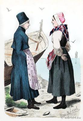 Traditional Norway national costume. Scandinavian folk dress. Franz Lipperheide
