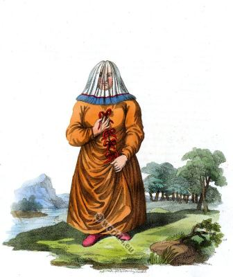 Traditional dress of a female Ostyak. Ugrian people folk dress.