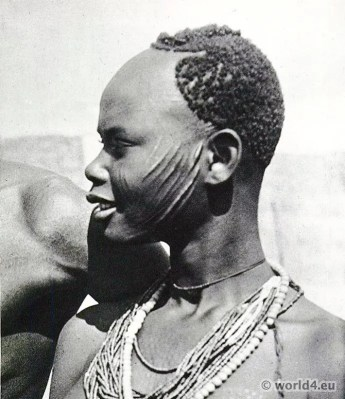 African tribe. Chad and Central African Republic. Sara girl (Sara-Madjingaye). Africa bodyart, piercing.