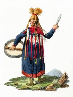 Female Shaman costume. Sorceress of Krasnajarsk. Russia folk dress.