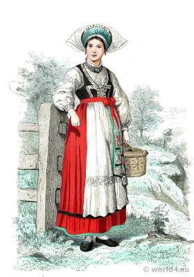Traditional Sweden national costume. Scandinavian folk dress