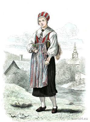 Leksand Sweden. Traditional national costume. Scandinavia. Dalarna folk costume.