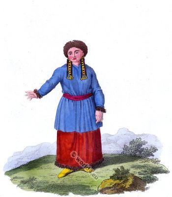 Kusnezk Tartar folk dress. Traditional Russian national costume.