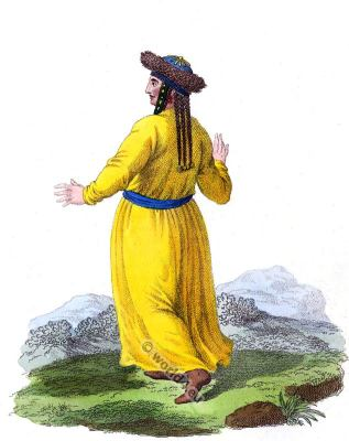Tatar costume. Teleutan Kusnezk folk dress. Traditional Russian national costume