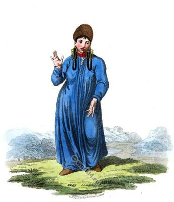 Female Tartar of Tomsk folk dress. Traditional Russian national costume