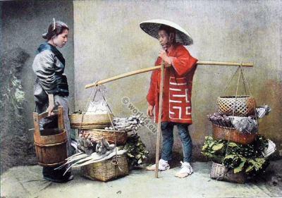Japan merchant. Historic  Japan costumes. Traditional Kimono. Modes 19e siecle Japon