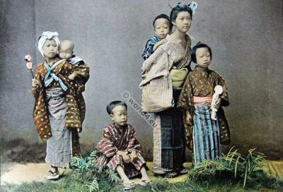 Group of japanese children. Traditional Japan costumes. Old japanese child dresses.