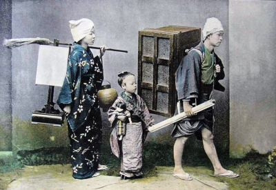 Relocation of a Japanese family. Traditional Japan costumes. Old japanese kimono.