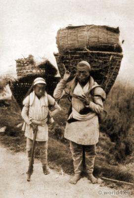 Traditional nepali folk costumes. Nepali Cultivators costume. Darjeeling Burlington Smith