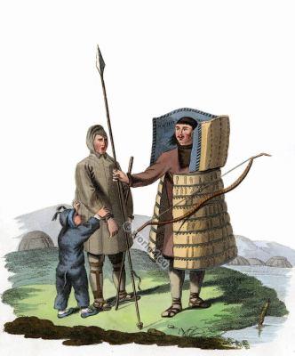 Traditional russia folk costume. Edward Harding. Costume Tschutzkian woman and warrior