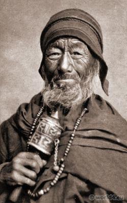 A Tibetan Lama with Prayer Wheel. J. Burlington Smith. Darjeeling India.