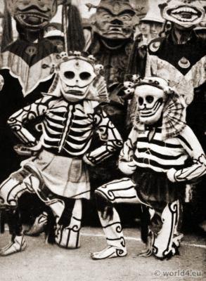 Skeleton costumes. Tibetan folk costume. Mask Dancer costumes. Ghoom Monastry