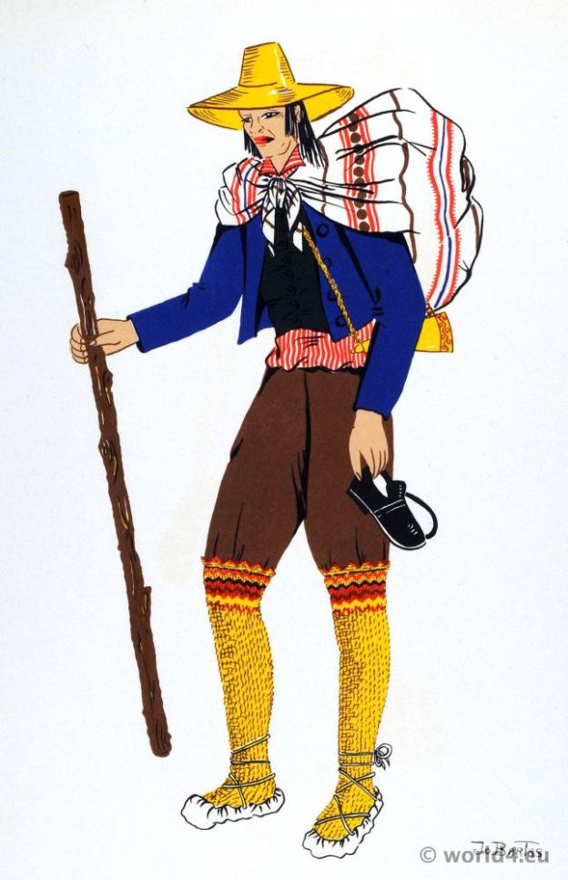 Uruguay peasant costume. South america folk dress.