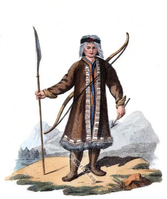 Yakut Hunting Dress. Sakha traditional folk dress. Traditional Russian national costume