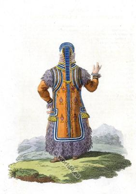Sakha traditional folk dress. Traditional Russian national costume