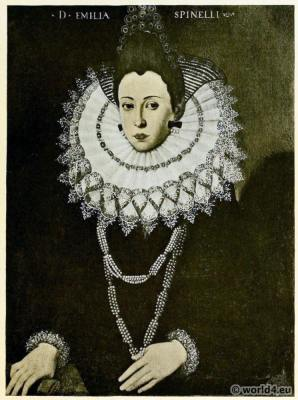 16th century costume. Reticella lace collar. Gothic needlepoint.
