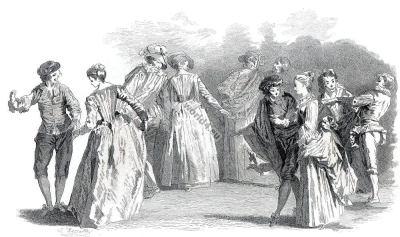 18th century. French rococo fashion. Period of Louis XV.