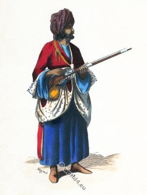 Afghan soldier costume. Traditional Afghanistan dress.
