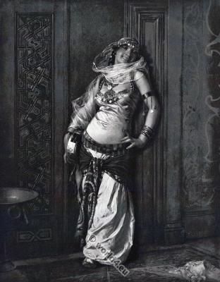 Almee. Charles Bargue. Almeh Arabian belly dancer costume. Arab courtesan dress