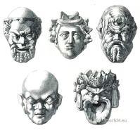 Greece tragic and comic masks. Greek pottery