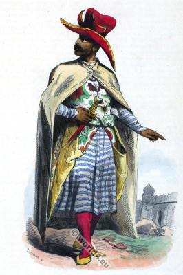 Costume Arabian Noble man. Traditional Arab clothing. Sarazene sword