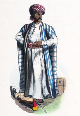 Arab merchant costume. Traditional Arabian burnoose clothing. Selham