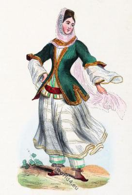 Armenian Costume. Young  girl dress. Traditional Armenia clothing. Auguste Wahlen